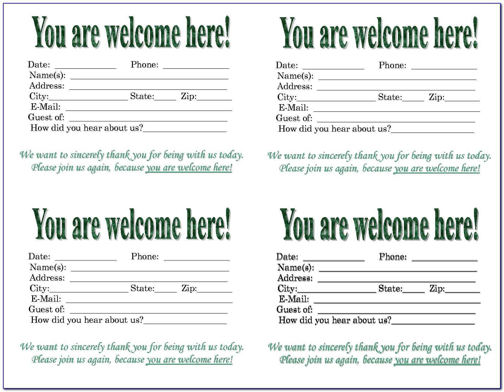 Church Visitor Card Template Generator | Marseillevitrollesrugby Inside Church Visitor Card Template