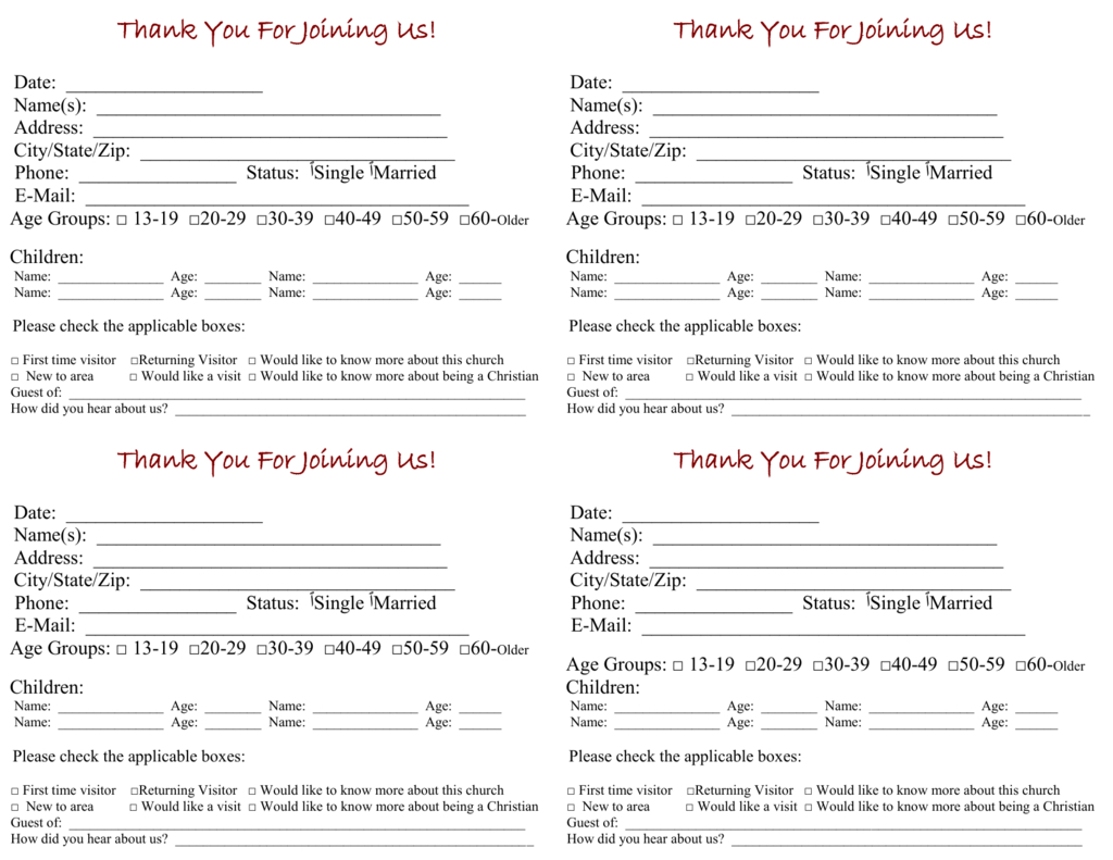 Church Visitor Card Template Pertaining To Church Visitor Card Template