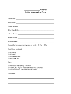 Church Visitor Form Pdf – Fill Online, Printable, Fillable regarding Church Visitor Card Template Word