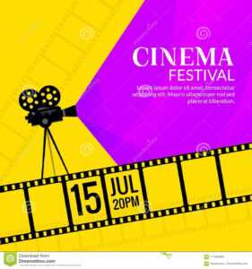 Cinema Festival Poster Template. Film Or Movie Flyer pertaining to Film Festival Brochure Template