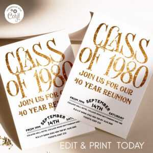 Class Of 1980 40 Year Reunion Invitation in Reunion Invitation Card Templates