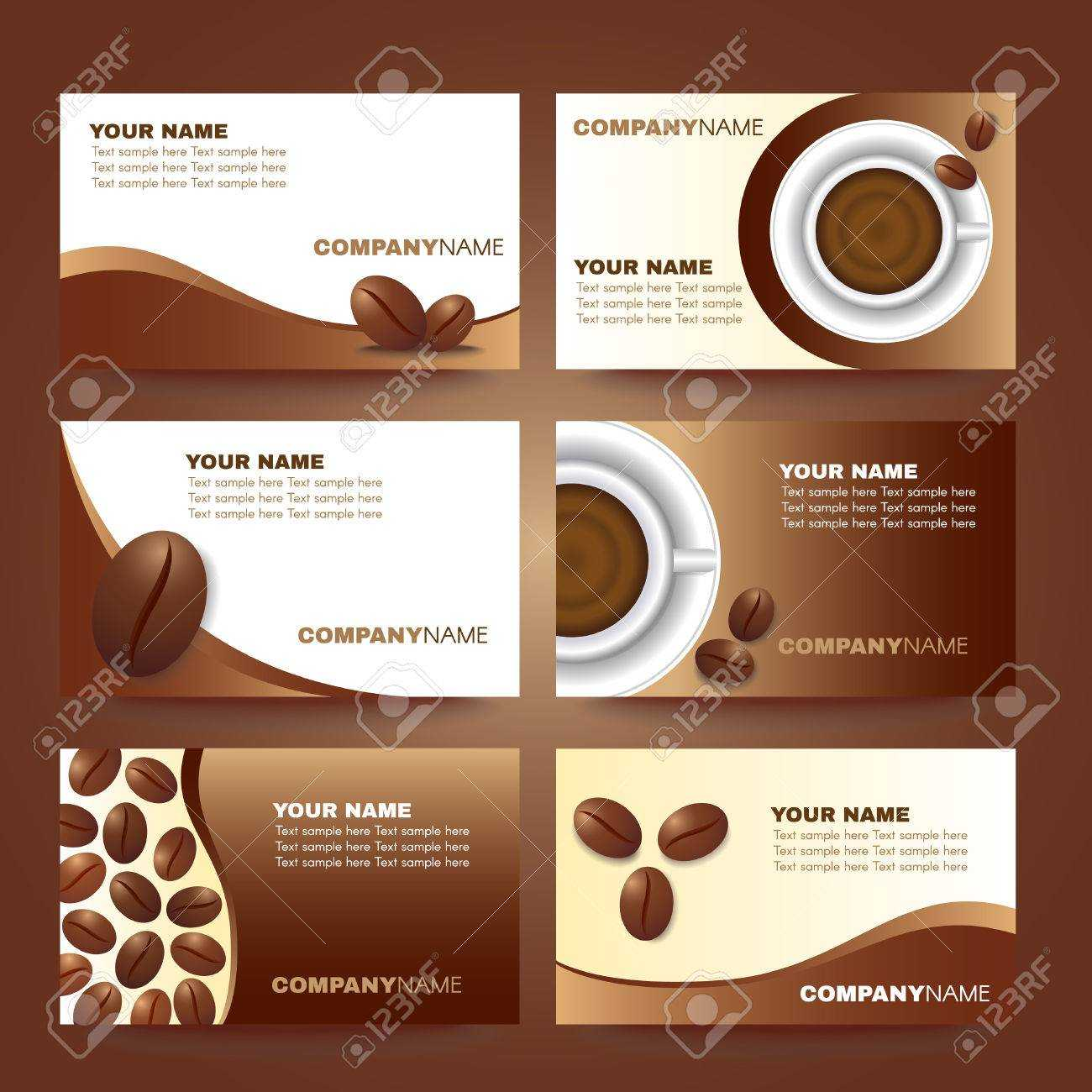 Coffee Business Card Template Vector Set Design For Coffee Business Card Template Free