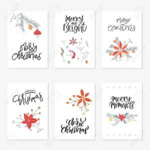 Collection Of 6 Cute Merry Christmas Gift Cards. Set Of Six Printable.. in Printable Holiday Card Templates