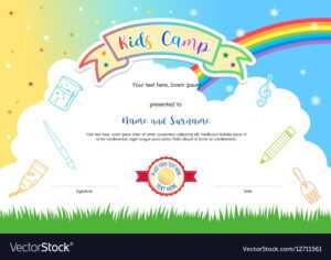 Colorful Kids Summer Camp Diploma Certificate for Summer Camp Certificate Template