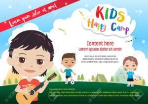 Colorful Kids Summer Camp Diploma Certificate Template In Cartoon.. regarding Basketball Camp Certificate Template