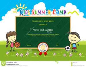 Colorful Kids Summer Camp Diploma Certificate Template In with Basketball Camp Certificate Template