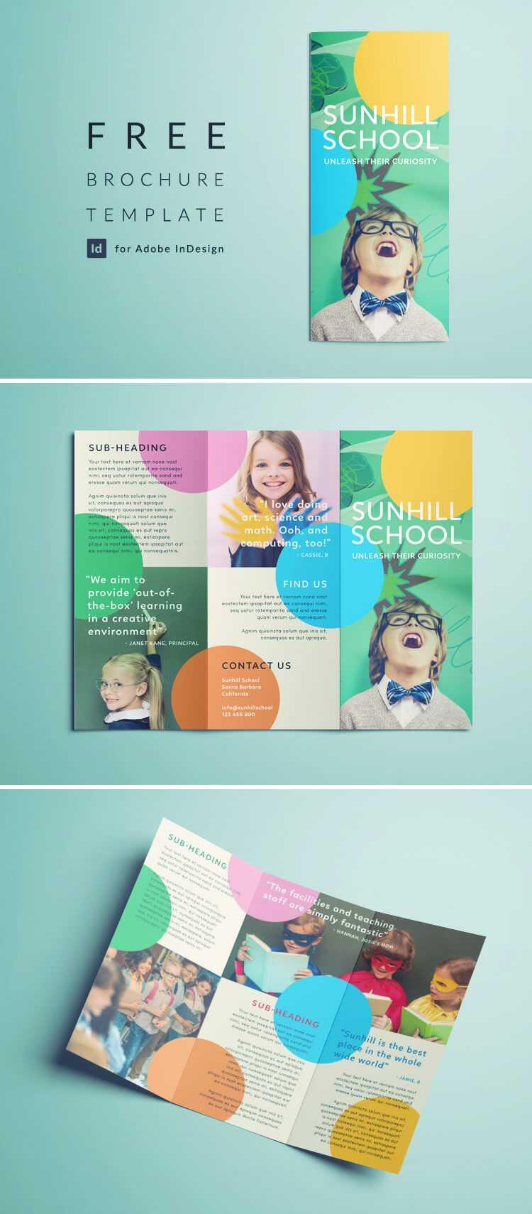 Colorful School Brochure - Tri Fold Template | Download Free For Play School Brochure Templates