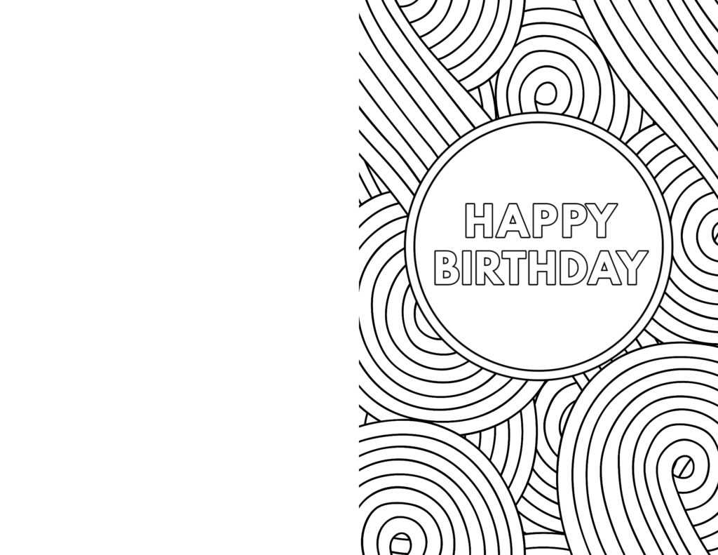 Coloring ~ Free Coloring Birthday Cards For Kids To Color Throughout Foldable Birthday Card Template
