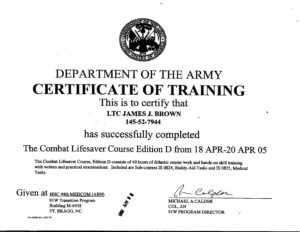Combat Lifesaver Course – James J. Brown pertaining to Army Certificate Of Completion Template
