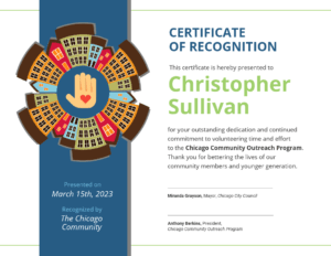 Community Volunteer Certificate Of Recognition Template for Volunteer Award Certificate Template