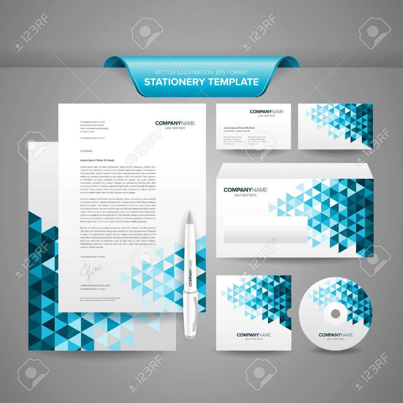Complete Set Of Business Stationery Template Such As Letterhead,.. Throughout Business Card Letterhead Envelope Template