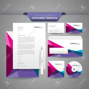 Complete Set Of Business Stationery Templates Such As Letterhead,.. in Business Card Letterhead Envelope Template