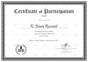 Conference Participation Certificate Template with regard to Conference Participation Certificate Template