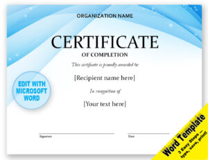 Contemporary Certificate Of Completion Template Digital Download for Microsoft Word Certificate Templates