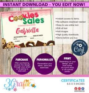 Cookies For Sales – Certificate – Printable – 3Grafik inside Hockey Certificate Templates