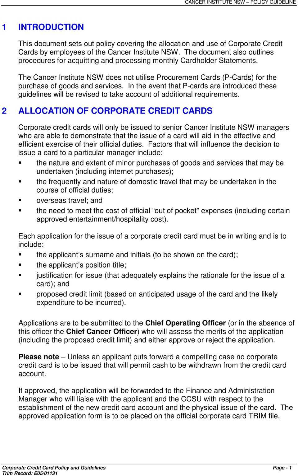Corporate Credit Card Policy Template ] - Procurement Cards Throughout Company Credit Card Policy Template