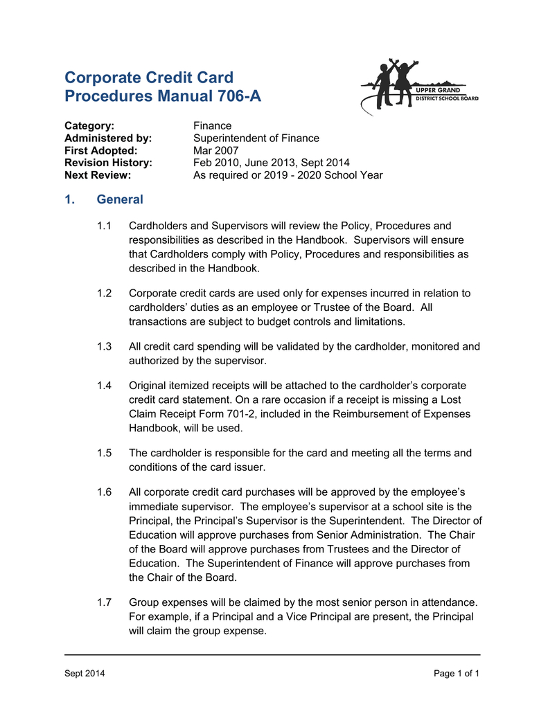 Corporate Credit Card Procedures Manual 706 A Inside Company Credit Card Policy Template