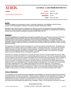 Corporate Functional Guide Template with Company Credit Card Policy Template