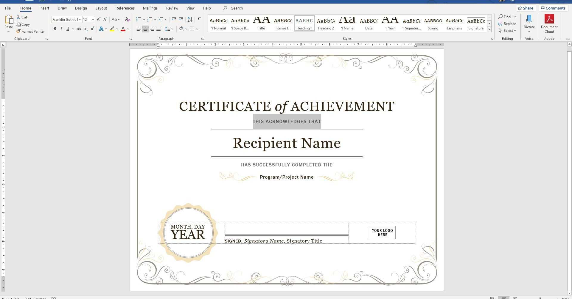Create A Certificate Of Recognition In Microsoft Word Intended For Template For Certificate Of Appreciation In Microsoft Word