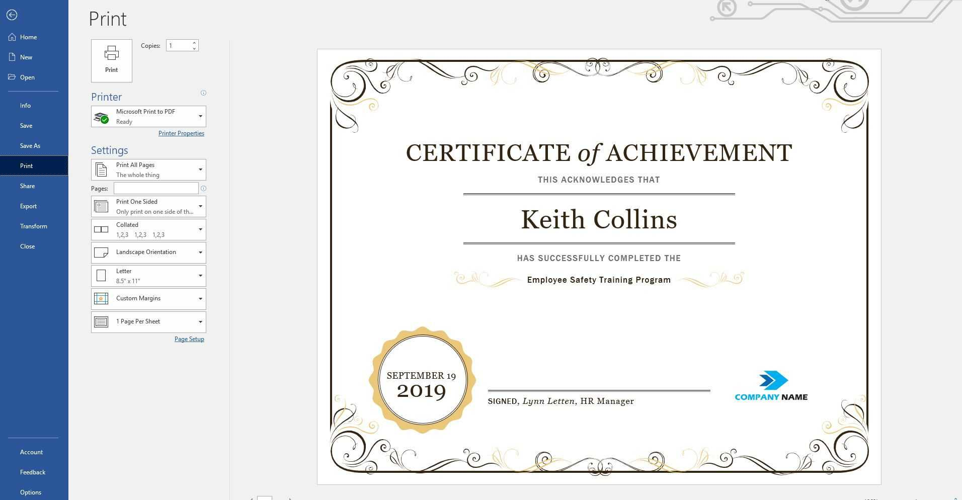 Create A Certificate Of Recognition In Microsoft Word Throughout Award Certificate Templates Word 2007
