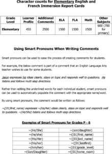 Creating Strong Report Card Comments. A Handbook For within Character Report Card Template