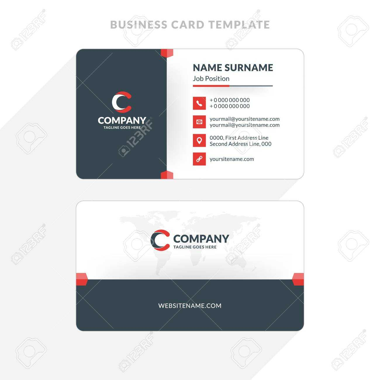 Creative And Clean Double Sided Business Card Template. Red And.. Intended For Double Sided Business Card Template Illustrator