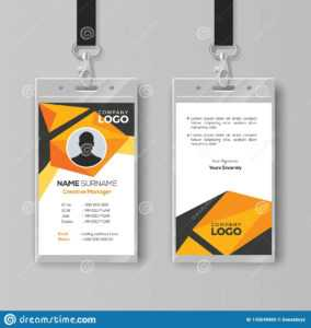 Creative Id Card Template With Abstract Orange Geometric intended for Conference Id Card Template