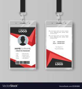 Creative Id Card Template With Black And Red inside Conference Id Card Template