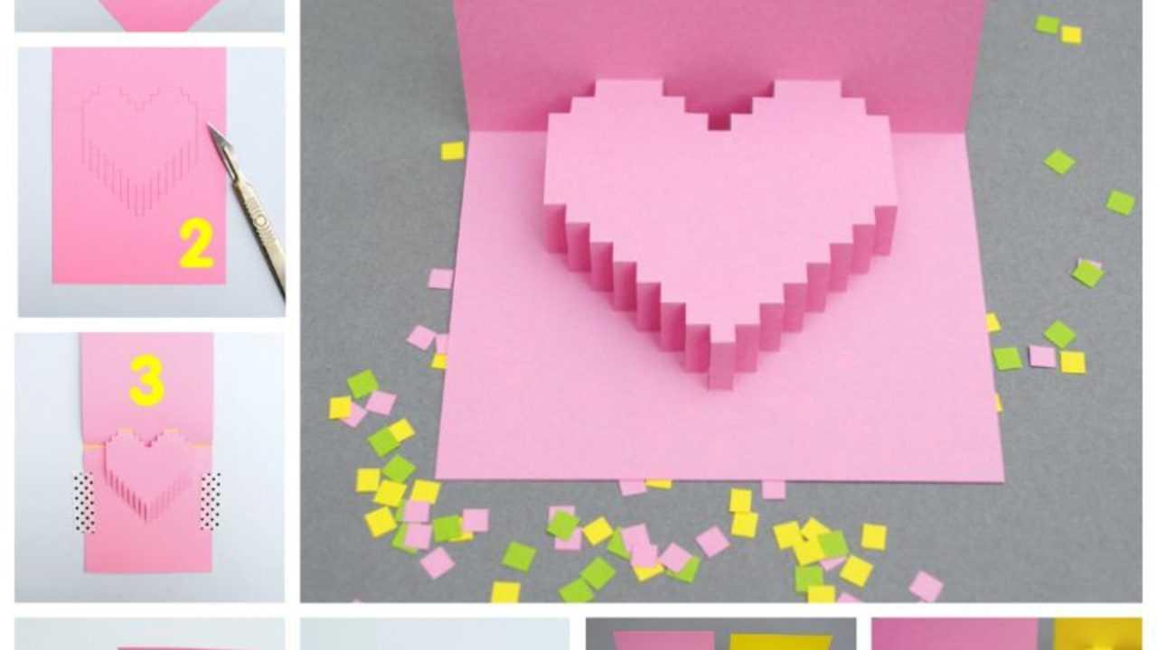 Creative Ideas - Diy Pixel Heart Popup Card For Pixel Heart Pop Up Card Template