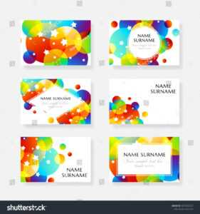 Creative Kids Cards Colorful Bubble Decoration Stock Vector intended for Id Card Template For Kids