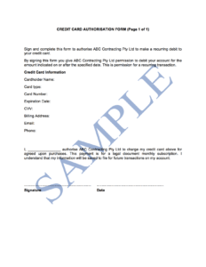 Credit Card Authorisation Form – Free Template | Sample throughout Credit Card Authorisation Form Template Australia