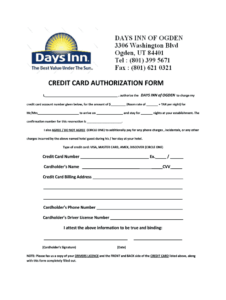 Credit Card Authorization Form – Fill Online, Printable with regard to Hotel Credit Card Authorization Form Template