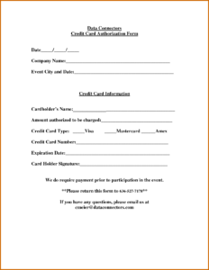 Credit Card Authorization Form – Fotolip with regard to Credit Card Payment Slip Template