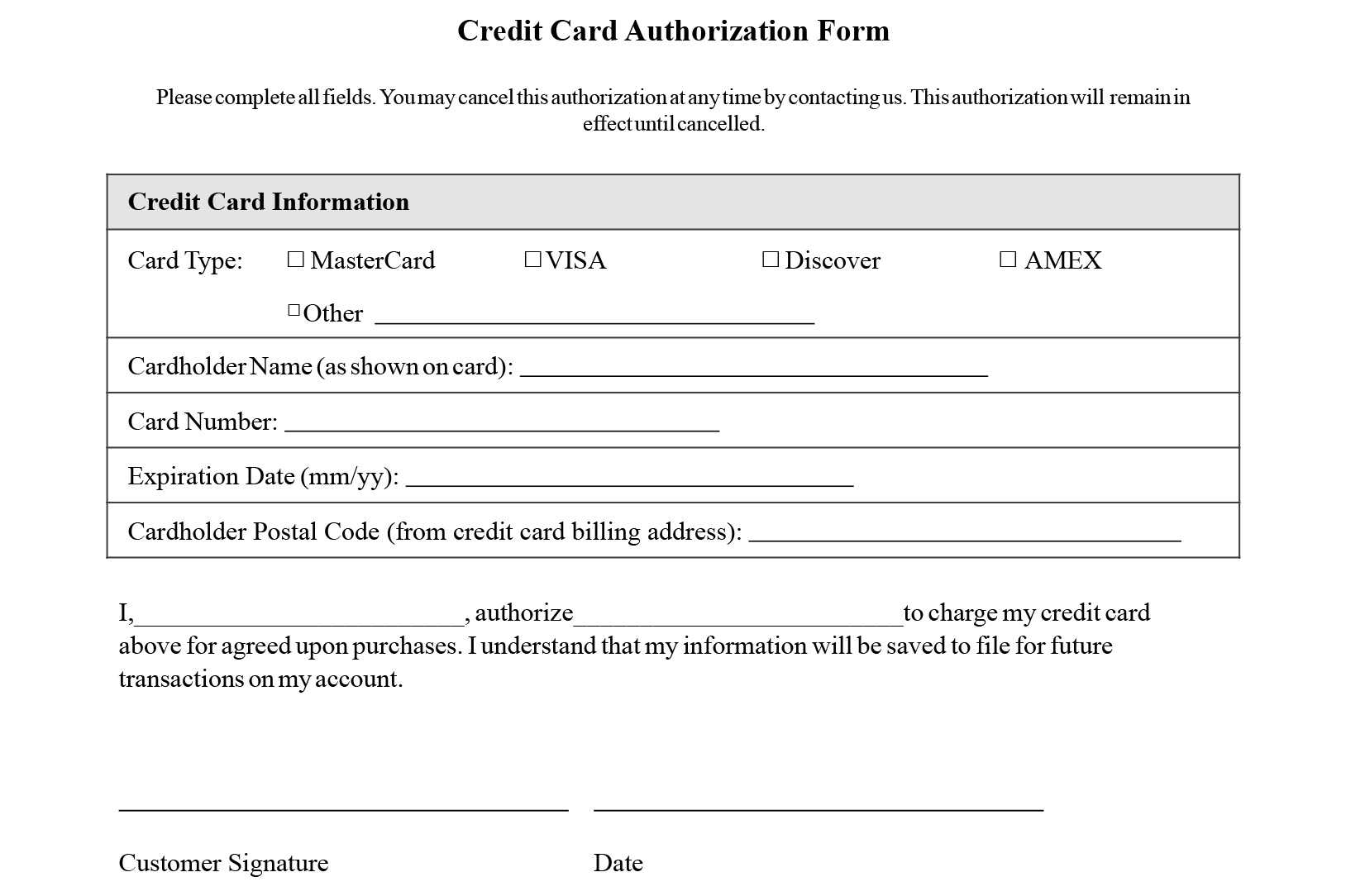 Credit Card Authorization Form Templates [Download] For Credit Card Payment Form Template Pdf