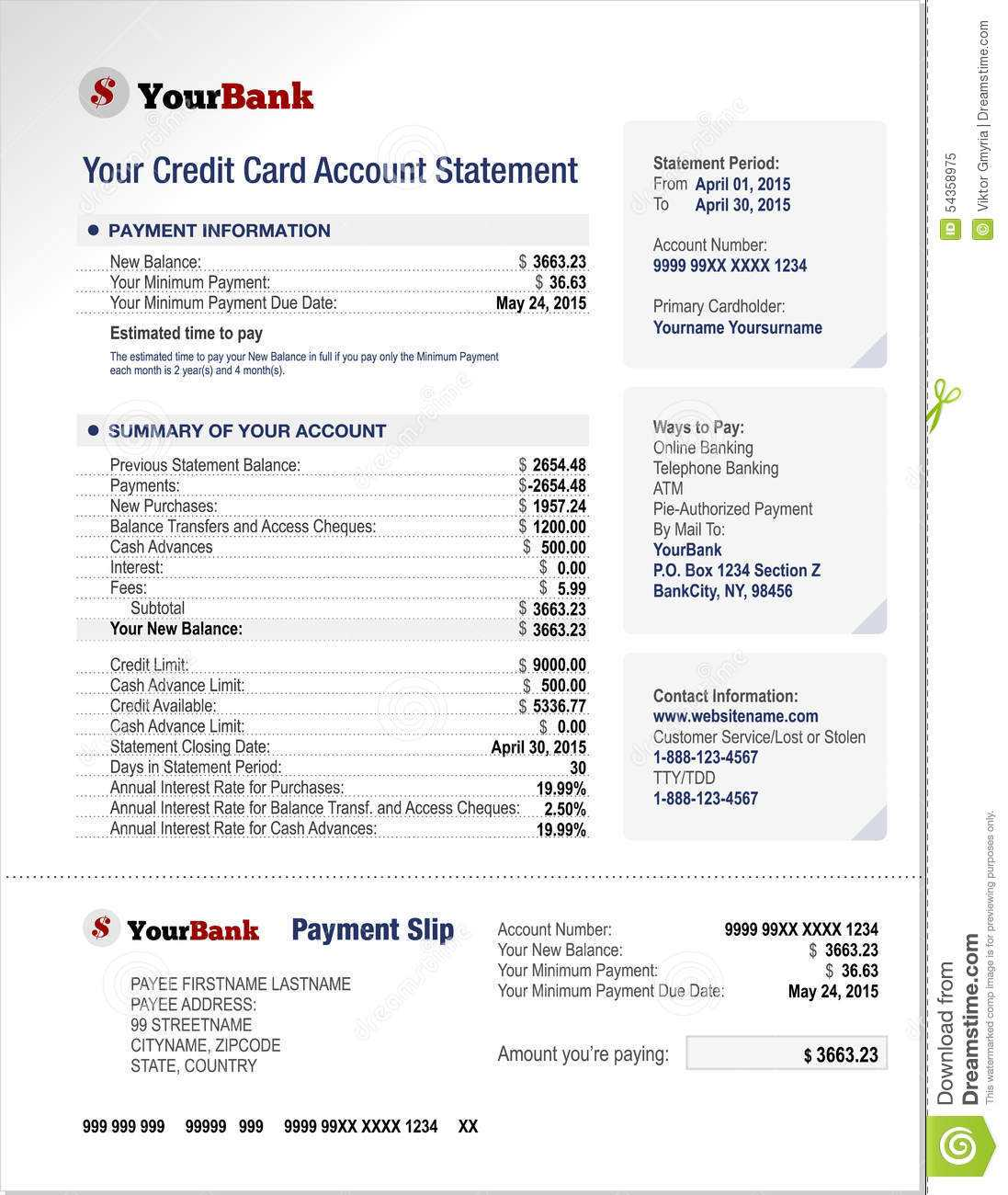 Credit Card Bank Account Statement Template Stock Vector Throughout Credit Card Bill Template