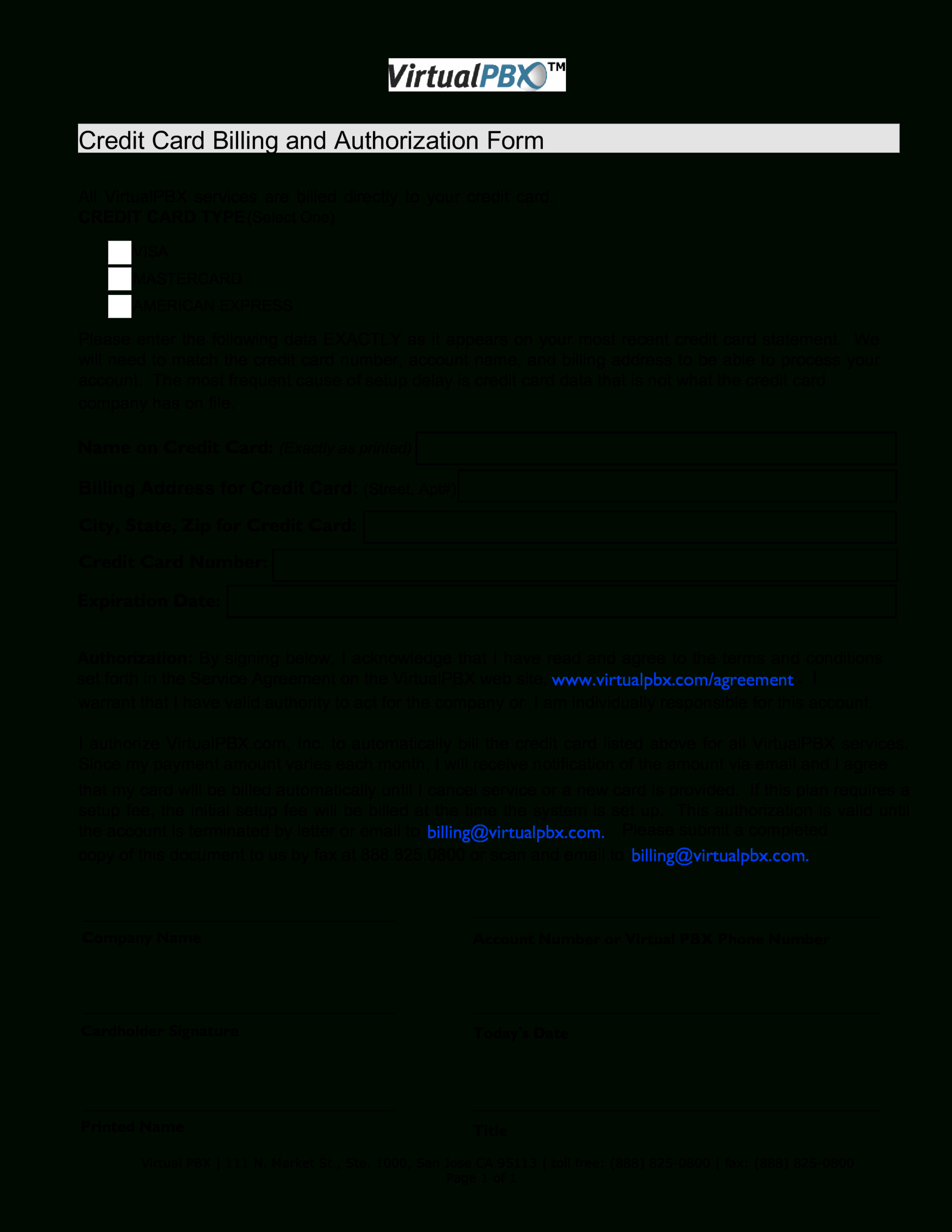 Credit Card Billing Form | Templates At Allbusinesstemplates With Regard To Corporate Credit Card Agreement Template