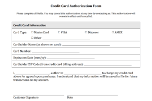 Credit Card Charge Authorization Form - Oflu.bntl in Authorization To Charge Credit Card Template