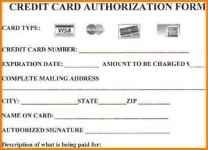 Credit Card Form Authorization Template | Professional regarding Credit Card Authorization Form Template Word