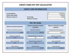 Credit Card Payoff Spreadsheets – Word Excel Fomats regarding Credit Card Payment Spreadsheet Template