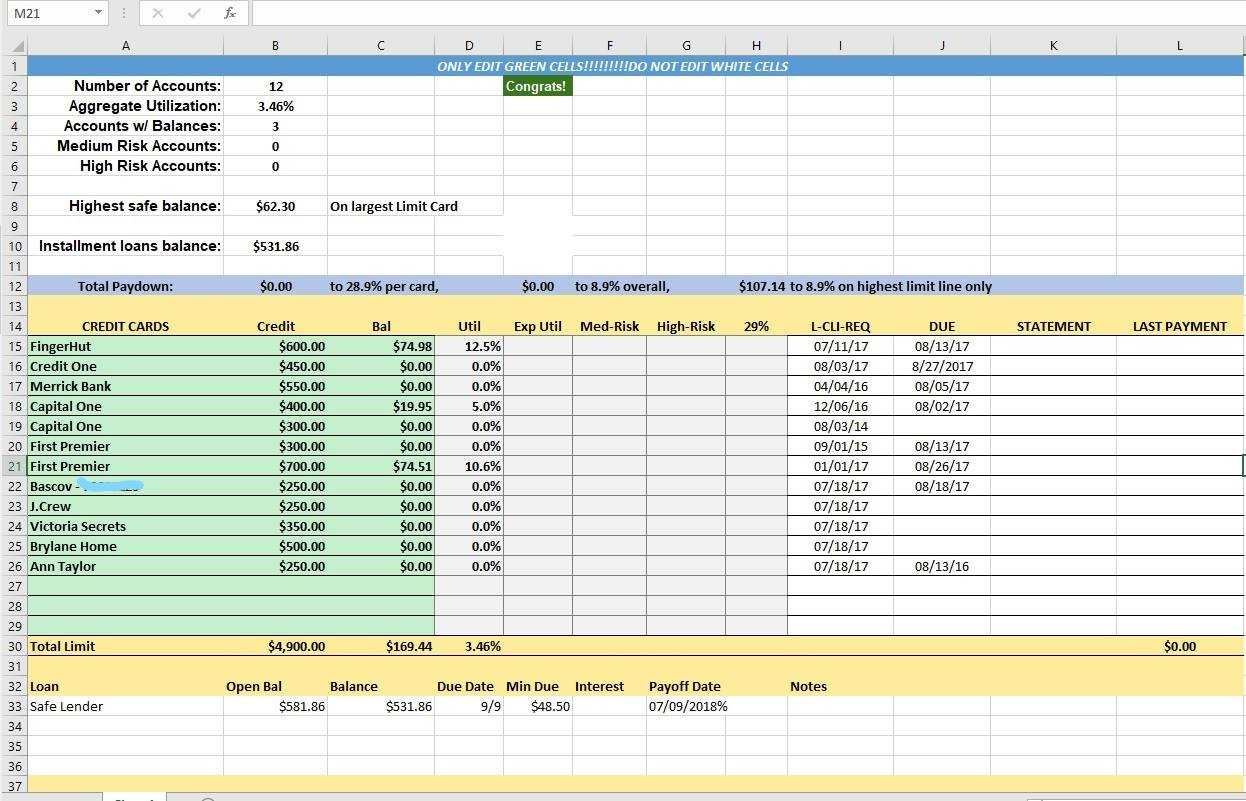 Credit Card Utilization Tracking Spreadsheet - Credit Warriors Within Credit Card Statement Template Excel