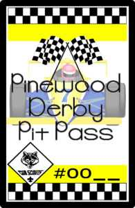Cub Scout Pinewood Derby Pit Pass with Pinewood Derby Certificate Template