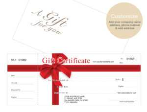 Custom Gift Certificates Cards With Envelopes 100 Set -Red-Ribbon within Custom Gift Certificate Template