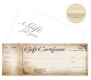 Custom Gift Certificates Cards With Envelopes 100 Set – Rustic with Custom Gift Certificate Template