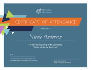 Customize Free Certificate Templates | Customize & Download for Certificate Of Participation In Workshop Template