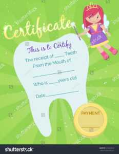 Cute Tooth Fairy Receipt Certificate Template Stock Vector in Free Tooth Fairy Certificate Template