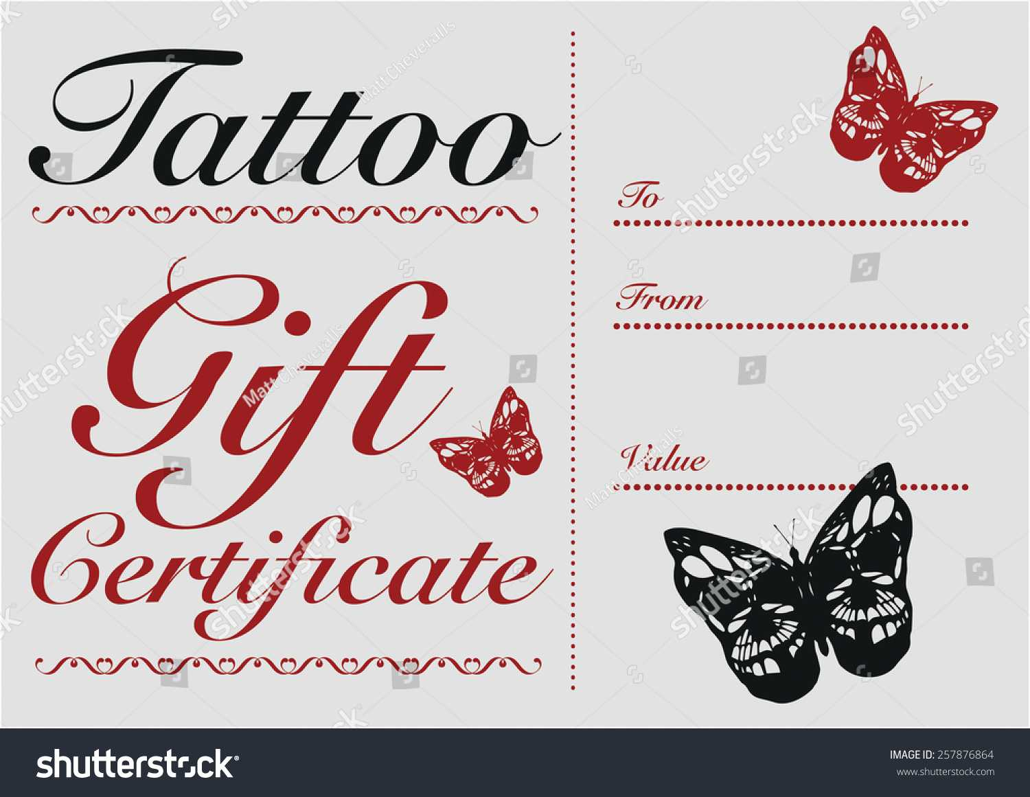 Стоковая Векторная Графика «Butterfly Skull Tattoo Gift Card Within Tattoo Gift Certificate Template