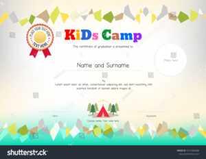 Стоковая Векторная Графика «Kids Summer Camp Diploma within Summer Camp Certificate Template