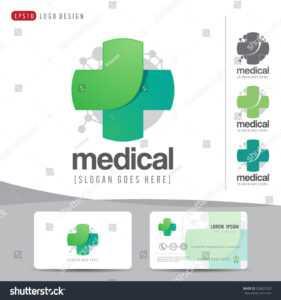 Стоковая Векторная Графика «Logo Design Medical Healthcare with Hospital Id Card Template