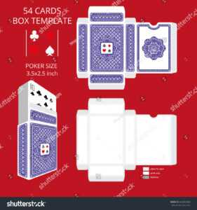 Стоковая Векторная Графика «Poker Card Size Tuck Box with Playing Card Design Template