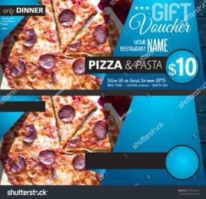 Стоковая Фотография «Restaurant Gift Voucher Flyer Template inside Pizza Gift Certificate Template